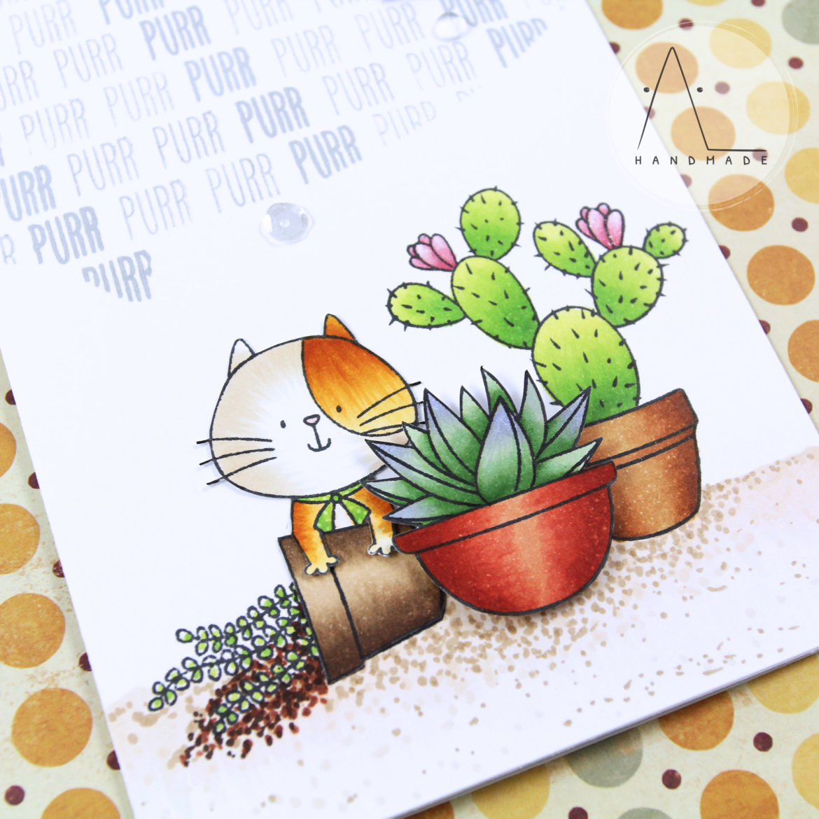 AL handmade - Curious cat among succulents