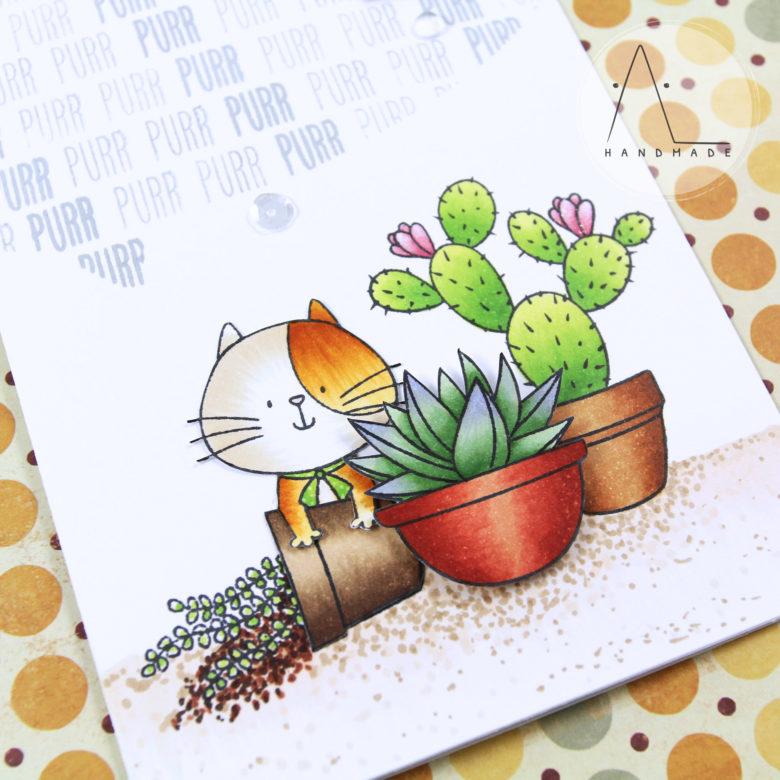 AL handmade - Curious cat among succulents
