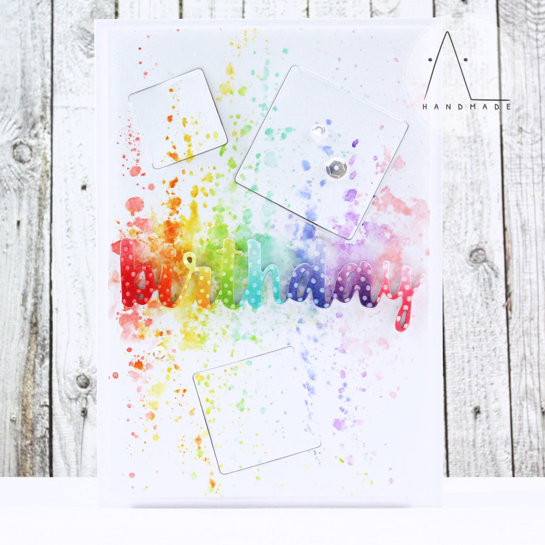 AL handmade - Ink Smooshing Colorful Birthday Card