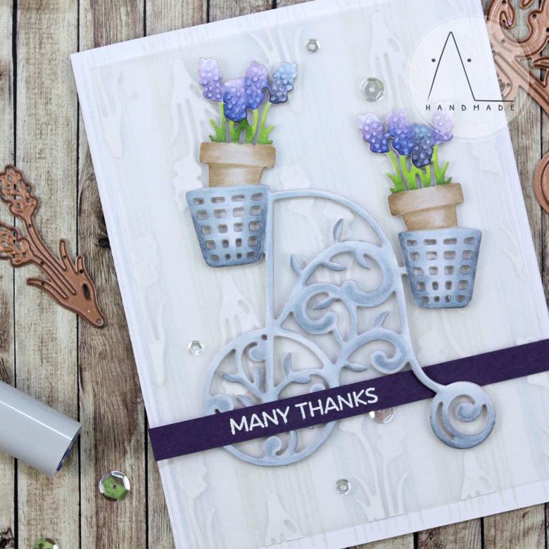 AL handmade - Spellbinders - Lavender Thanks with Lavender Trike Etched Dies