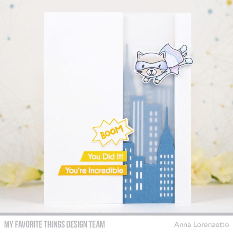 AL handmade - My Favorite Things DT - WSC 432 - Super Cat stamp set and City Block Die-namics