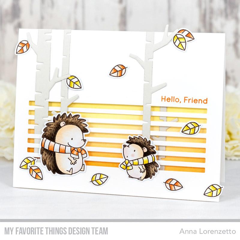 AL handmade - My Favorite Things DT - BB Happy Hedgehogs stamp set and Skinny Stripes Horizontal Die-namics