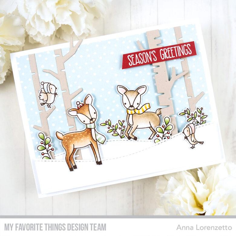 AL handmade - My Favorite Things - Dashing Deer stamp set and Birch Trees Die-namics