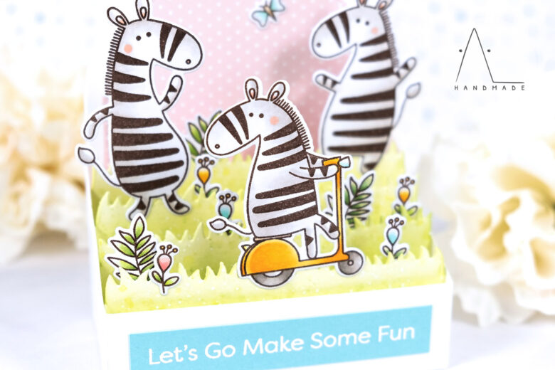 AL handmade - My Favorite Things DT - Outside the Box - Zippy Zebras stamp set and Outside the Box Level Up Die-namics