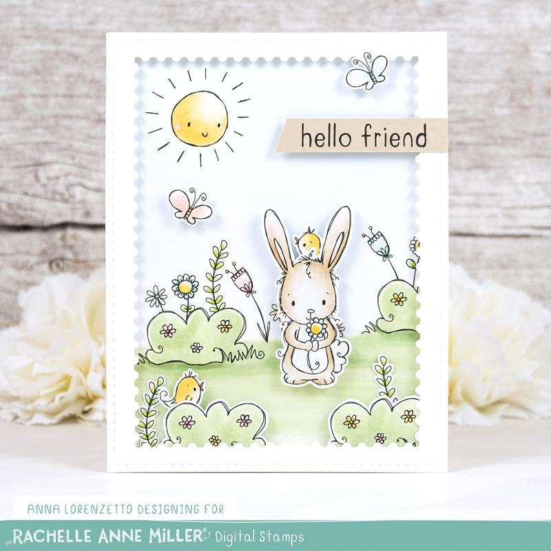 AL handmade - Rachelle Anne Miller DT - Garden Friends Scene Creator Digital Stamp