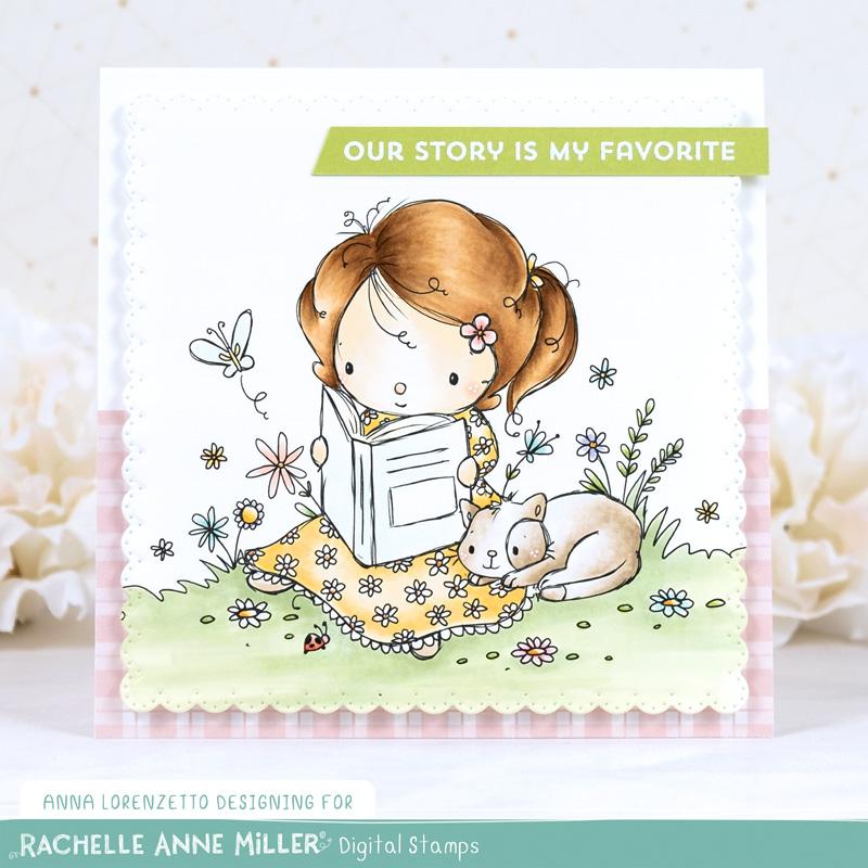 AL handmade - Rachelle Ann Miller DT - Reading in the Garden Digital Stamp