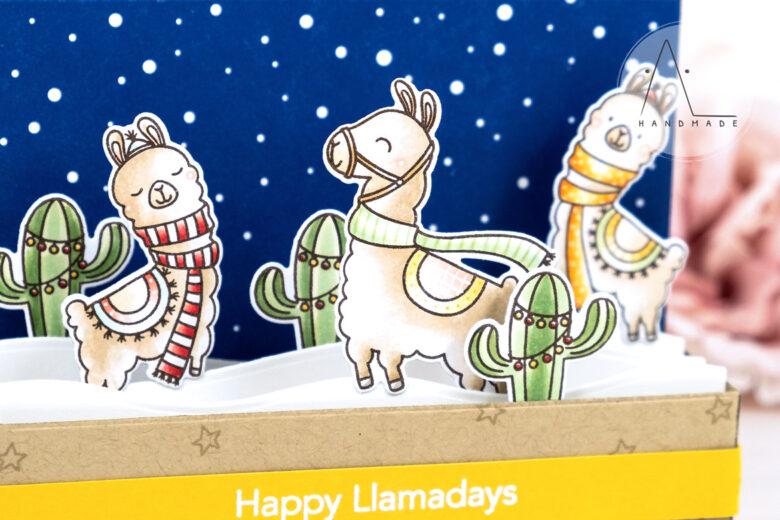 AL handmade - My Favorite Things DT - Happy Llamadays stamp set and Mini Slimline Outside the Box Die-namics